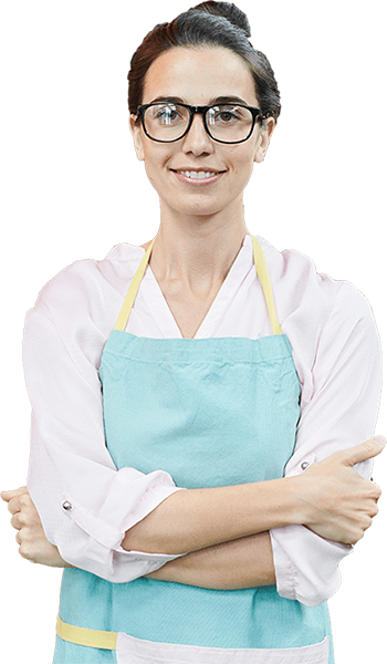 isolated cafe worker folding her arms looking direct ahead