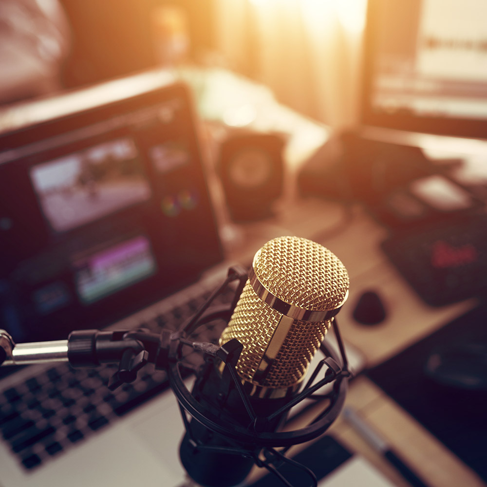 close up of a studio microphone